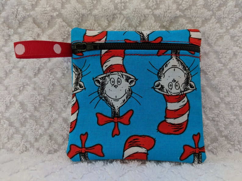 Dr Cat in the hat fabric Gift Card Holder Seuss Handmade coin pouch