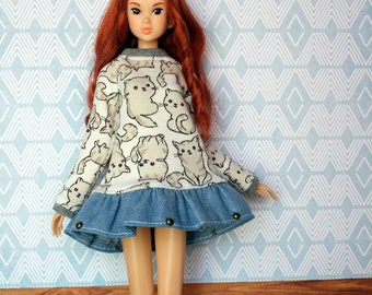 Grey Cats dress for Pullip, Momonita ,,,