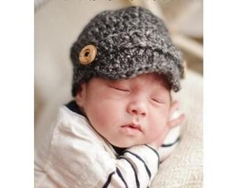 22ad6376 Crochet Baby Newsboy Cap, Newborn Newsboy Hat, Baby Boy Hat, Choose Any  Color, Newborn Photography Prop