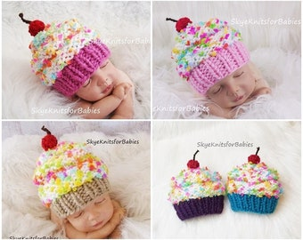 2f76bf1e870 Knit Baby Cupcake Hat