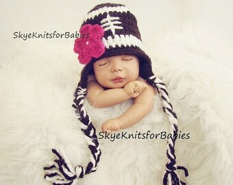 Baby Football Hat With Removable Flower, Baby Girl Football Hat, Crochet Football Hat, Baby Hat Girl, Newborn Photography Prop