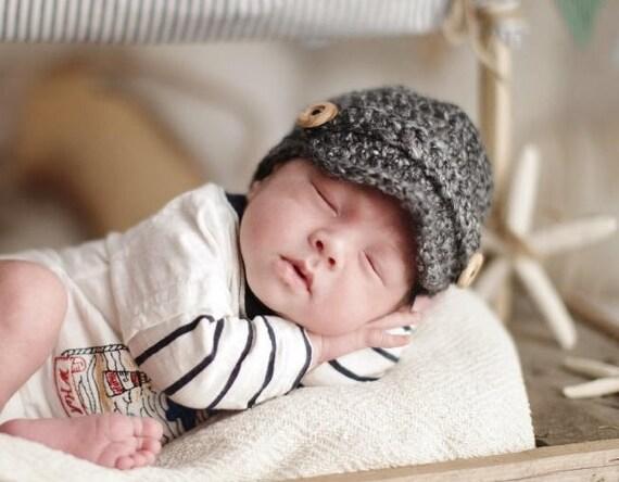 Neugeborenen Balloon Mütze Häkeln Schiebermütze Newsboy Etsy