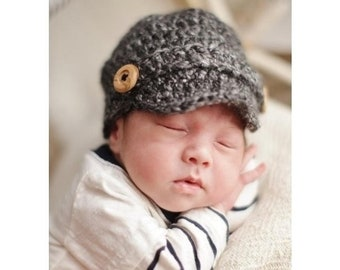 Crochet Baby Newsboy Cap, Newborn Newsboy Hat, Baby Boy Hat, Choose Any Color, Newborn Photography Prop