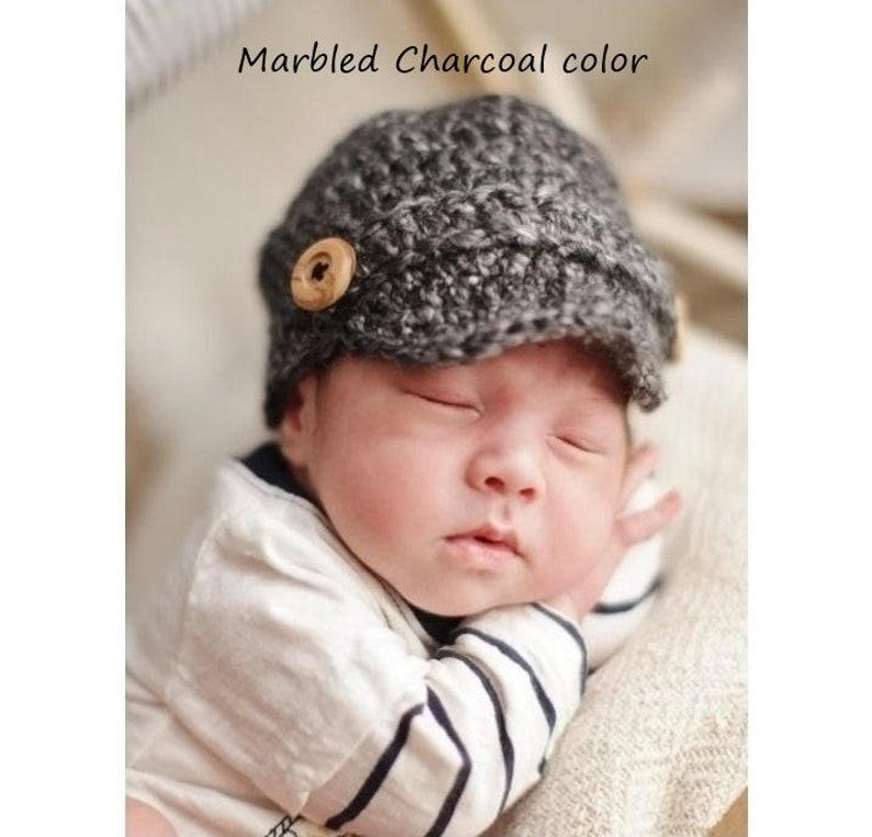 b5a81d73578 Crochet bonnet pour bébé Gavroche casquette Gavroche pour