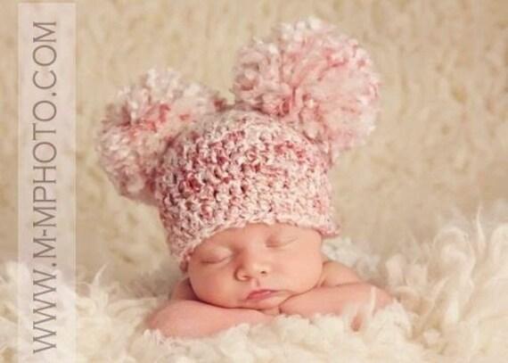 Double Pom Pom Baby Hat Baby Pom Pom Beanie Newborn Pom Pom  8c50edcf26f