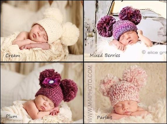 f486ab43368 Newborn Baby Hat Crochet Double Pom Pom Hat Crochet Baby