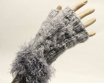 Hand Knit Fingerless Gloves with Furry Cuff in Dove Grey FG014