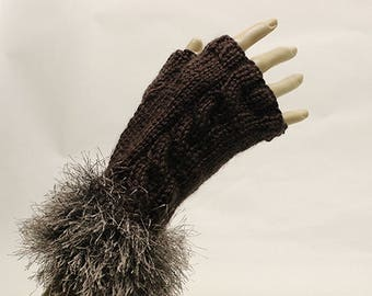 Chocolate Brown Hand Knit Fingerless Gloves with Furry Cuff FG013