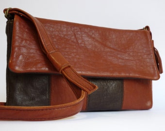 Mini Leather Shoulder Bag sienna and brown leather