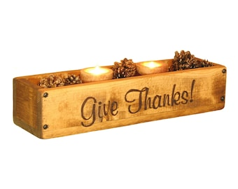 Wood Box Centerpiece with YOUR Text, Mantle Centerpiece, Table Centerpiece, Long Mantle Candle Holder, Fall Table Decor, Holiday Table Decor
