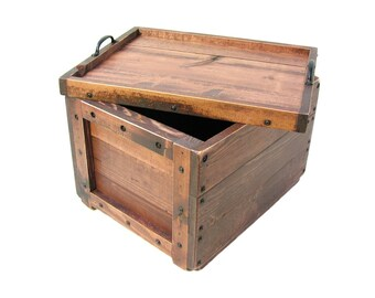 Lidded Wood Crate, Wooden Box with Lid, Keepsake Box, Hope Chest, Memory Box, Wedding Card Box, Bin, Tote, Carry-all, Wooden Storage Box