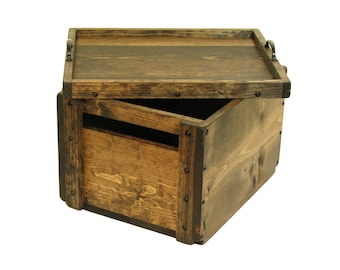 Wooden Crate with Lid, Wood Box with Reversible Lid-Tray, Wedding Card Box, Hope Chest, Keepsake Box, Memory Box, Custom Engraving Available