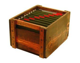 Wooden Box for Files, File Organizer, Filing Box, Filing System, Paperwork Organizer, Hanging File Storage Box, File Holder, File Sorter