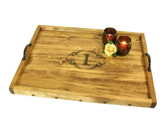 Serving Tray Personalized, Ottoman Tray Engraved, Coffee Table Tray, Decorative Wood Tray, Wedding Gift, Anniversary Gift, Housewarming Gift
