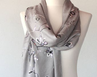 Gray embroidery scarf bridesmaid gift christmas gift for her birthday gift idea embroidered pashmina