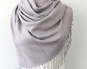 Pashmina shawl Gray scarf Thick Pashmina wrap Silver fringe shawl Plain shawl Winter accessories Solid color shoulder scarf