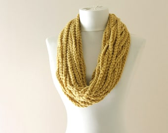 Valentines day gift for her, yellow infinity scarf, mustard scarf, braid scarf, stocking stuffer, fall fashion