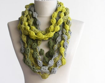 Neon infinity scarf yellow gray crochet scarf bubble chain scarf necklace pompom scarf winter scarves fall fashion accessories  LIVELY