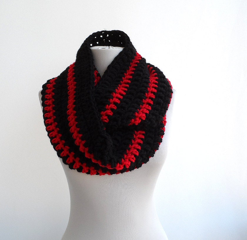 Infinity Scarf Mens Scarf Black And Red Striped Scarf Crochet Etsy
