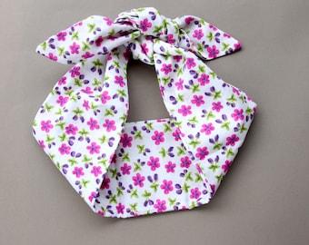 Floral headband bow headband rockabilly headband tie up headscarf retro hair accessory summer spring