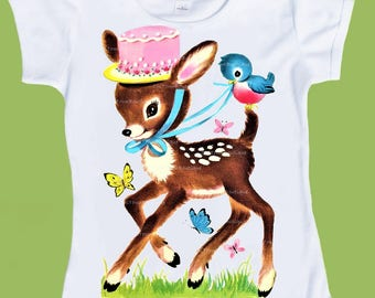 Woodland Deer, Pink Hat , Deer with hat, girls clothes, baby shower gift, blue bird tshirt, Birthday outfit, ChiTownBoutique.etsy