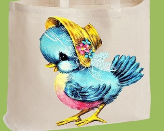 Sweet Blue Bird, Tote Bag, Market Tote, Natural Heavy Cotton Twill, Over the shoulder, Beach Bag, Diaper Bag by ChiTownBoutique