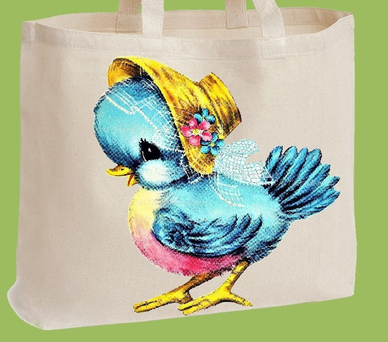 Diaper Bag by ChiTownBoutique Over the shoulder Natural Heavy Cotton Twill Tote Bag Beach Bag Market Tote Sweet Blue Bird