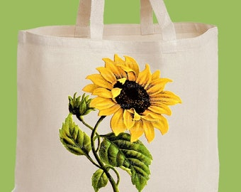 Sunflower, Tote Bag, Market Tote, Natural Heavy Cotton Twill, Over the shoulder, Beach Bag, Diaper Bag by ChiTownBoutique