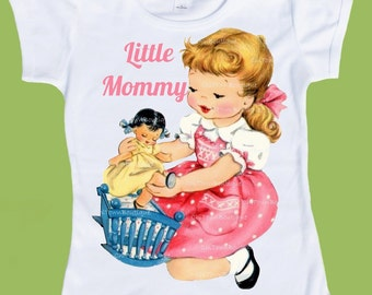 Little Mommy, Doll and cradle, playing w doll,Customized Free, Any Hair color, girls clothes, Girls T-Shirt,Tank by ChiTownBoutique.etsy