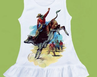 Ruffle bottom, Girls Dress,Western Dress, Bull rider,Rodeo dress, baby girls clothes OR ANY design by ChiTownBoutique.etsy