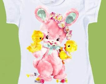 Vintage Pink Bunny with chicks, Baby Shower gift, Retro Graphics, Free Gift Wrap, One Piece Baby or TShirt by ChiTownBoutique.etsy