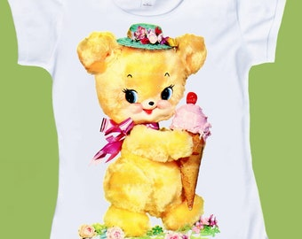 Vintage  Yellow Bear with Ice cream cone, Baby Shower gift, Retro Graphics, Free Gift Wrap, One Piece Baby or TShirt by ChiTownBoutique.etsy