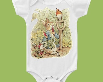 Peter Rabbit One Piece Baby Bodysuit, Peter Rabbit Baby Shower Gift, Beatrix Potter Peter Rabbit one piece T-Shirt by ChiTownBoutique.etsy