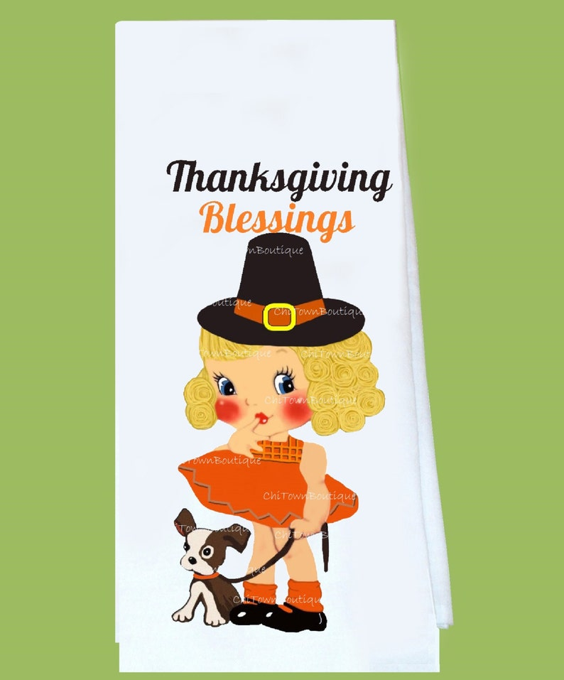 holiday gift lint free hostess Blessings girl all cotton Original ChiTownBoutique Tea Towel great gift Thanksgiving Flour Sack