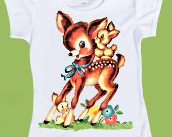 Woodland Deer Rabbits Tshirt,Vintage Woodland Deer, One Piece Baby Bodysuit, Baby boy, baby girl, toddler T-Shirt, by ChiTownBoutique.etsy