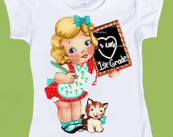 Back to School shirt-Kindergarten shirt- any grade- personalized -school tshirt-I Love 1st Grade, 2nd grade Shirt-Pre K ChiTownBoutique.etsy