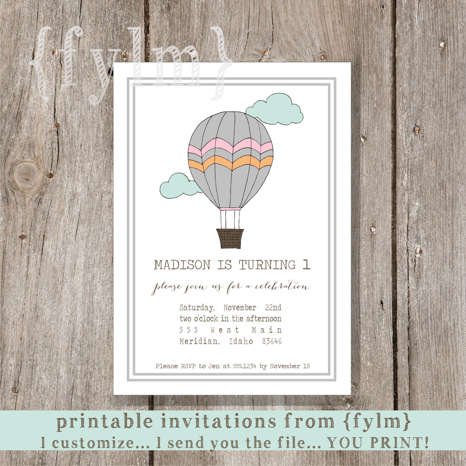 Hand drawn HOT AIR BALLOON Party Printable Party Invitations