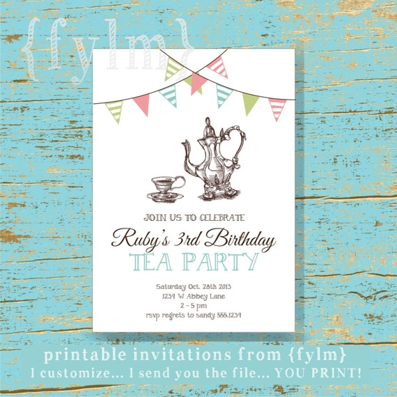 tea party printable invitations i design you print etsy