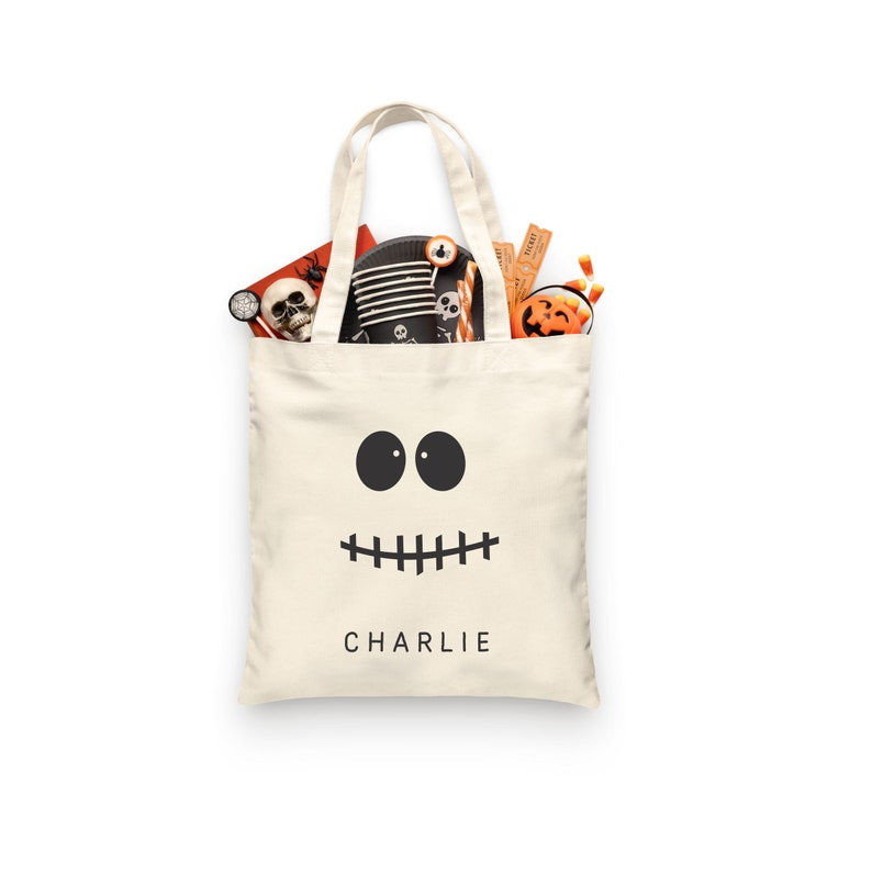 TOTE Bag SKELETON Face Candy bag HALLOWEEN 15x16 inch Natural color cotton tote custom Trick or Treat Bag