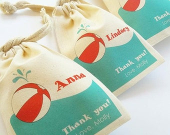 POOL Party - Personalized Favor Bags - Set of 10 - Birthday - Summer party - Beach Balls - party favor bags