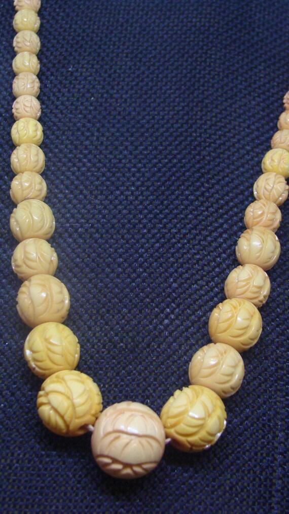 Carved Bakelite Bead Necklace