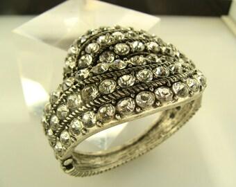 Rhinestone Hinged cuff, bracelet