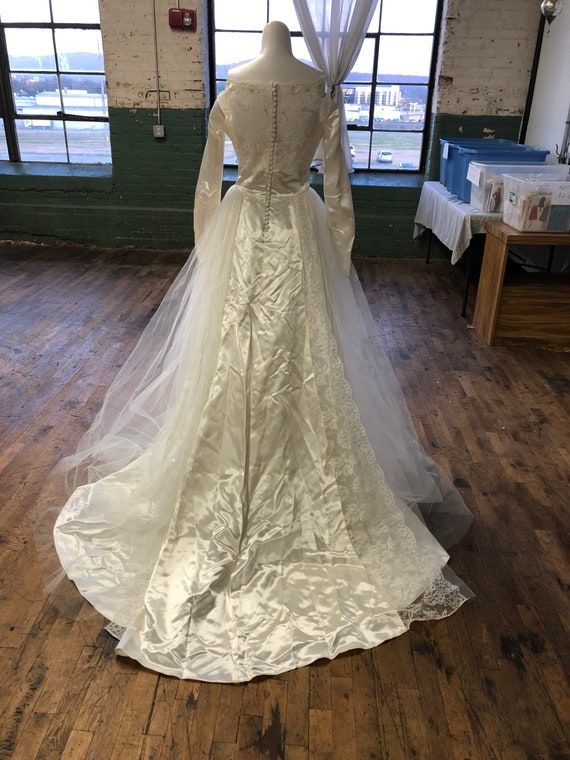 Vintage wedding gown and veil
