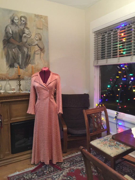 Vintage 1940s housecoat designed by Claire Haddad