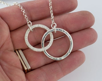 2 Interlocking Circles Eternity necklace, Handmade Circles in Solid Sterling Silver, Two Textured Circles Necklace