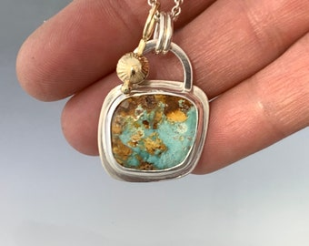 Nevada Turquoise Pendant in Sterling Silver and 14KTY Gold, One of a kind and ready to ship