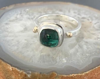 Green Tourmaline ring in Sterling Silver accented with 14kt yellow gold. Size 8. One of a kind, ready to ship