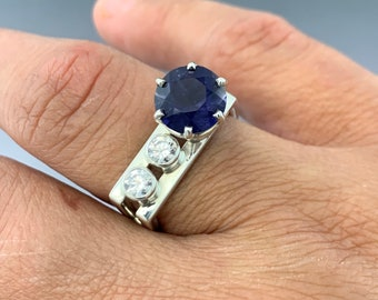 Beautiful Sterling Silver Double Square ring with a 10mm Iolite accented with 2 - 4mm CZ's. One of a Kind size 9.5, ready to ship