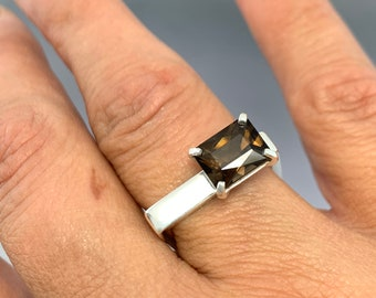 Sterling Silver Square band with a 10x8mm Smokey Quartz Prong set gemstone.