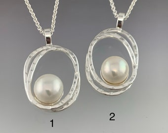 Choice of 1: Natural Fresh Water Button Pearl in a Sterling Silver double Oval Pendant, ready to mail